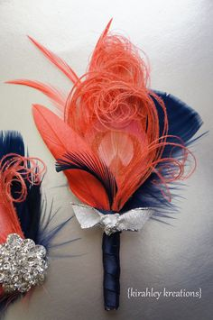 ILYSSA -- Custom Coral, Salmon, Navy Blue and Silver Feather Groom Groomsmen Wedding Prom Keepsake Boutonniere -- Customizable in YOUR color