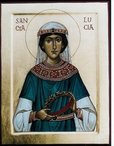 Saint Lucy Virgin Martyr of Syracuse icon, by Aiden Haart Religious Images, Religious Icons, Sainte Lucie, Spirited Art, Best Icons, Byzantine Icons, Catholic Saints, Orthodox Icons, Persecution