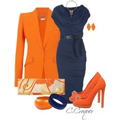 """Classy Orange & Navy"" by ccroquer on Polyvore"