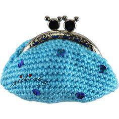 Bolsa em crochet, azul turquesa com lantejoulas