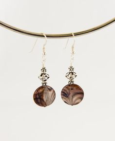 Shell Earrings with Sterling Silver Round Dangle by BaconsKeepers