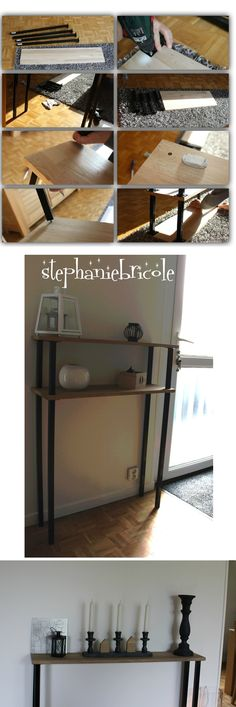 diy d co faire un meuble console au style industriel soi m me rapide et pas cher m me. Black Bedroom Furniture Sets. Home Design Ideas