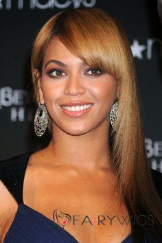 Fantastic Medium Brown Female Beyonce Knowles' Wigs 100% Human Hair