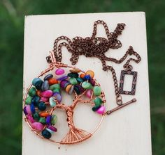 Tree of Life Pendant Colorful Shell Beads Copper Wire Wrap Round Necklace #Jeanninehandmade #Pendant