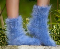 New Hand knit mohair socks fuzzy soft thick LIGHT BLUE leg warmers by SUPERTANYA #SuperTanya #Casual
