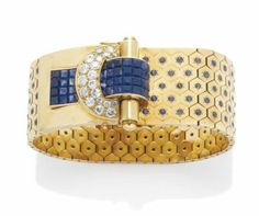 A SAPPHIRE, DIAMOND AND GOLD 'LUDO HEXAGONE' BRACELET, BY VAN CLEEF & ARPELS