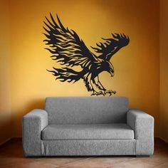 Eagle Wall Decor for Home Room Decals Sticker Vinyl Bedroom Art Murals Nursery Decal Interior Design Ah150 ** Click image to review more details.