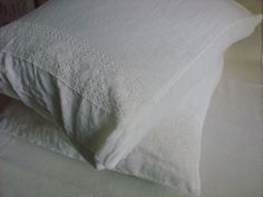 Stonewashed linen pillowcase white linen by LinenWoolRainbow