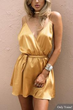 Silky Sexy Deep V-neck Backless Slip Dress in Yellow