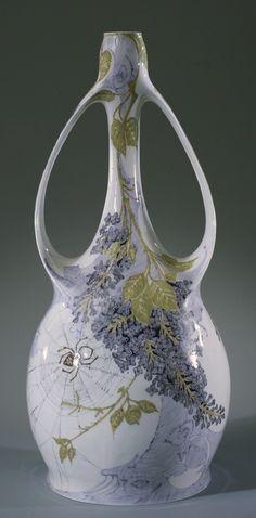 Rozenburg porcelain handled Art Nouveau vase with lilac and spiderweb, 1900