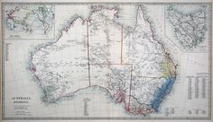 Australia & Tasmania.  S.D.U.K.    London, Thomas Letts, 1877.     A superbly detailed map of Australia, with insets of Tasmania and a map of the World.