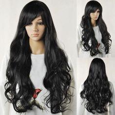 Fashion Women Long Black Curly Synthetic Cosplay Classic Cap Full Wig DIY-Wig #DIYWig #FullWig