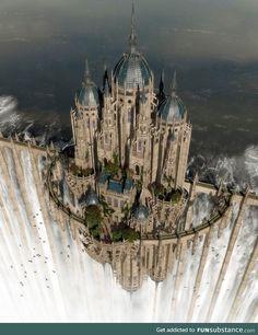 Myth & Fantasy Examples par Daneca Robinson Top of the waterfall by jfliesenborghs Fantasy City, Fantasy Castle, Fantasy Places, Fantasy Kunst, Fantasy World, Fantasy Artwork, Fantasy Art Landscapes, Beautiful Castles, Beautiful Places