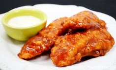 3 Ingredient Sticky Chicken Fingers at artsyfartsymama.com