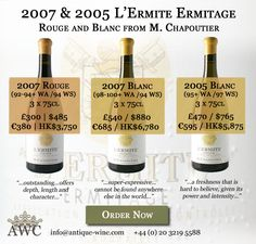 2007 & 2005 L'Ermite Ermitage - Rouge and Blanc from M. Chapoutier - The Antique Wine Company (AWC)