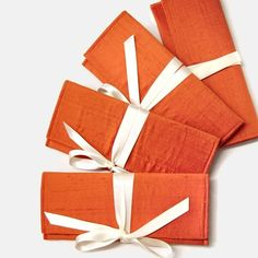 Silk Bridesmaid Clutches in tangerine and ivory.  Custom colors available.. $272.00, via Etsy.