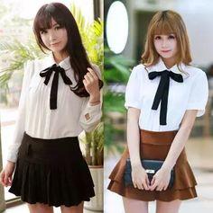 Cute students bowknot tie sweet chiffon blouse