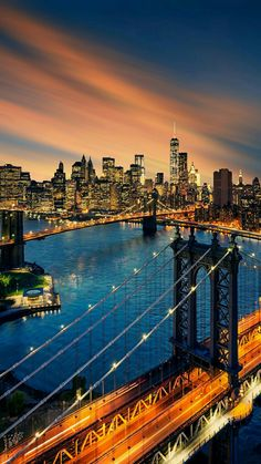 Nightfall descends upon New York City, New York, USA.