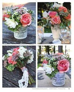 Flowers displayed in ceramic marmalade jars.