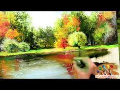 Часть 4. Отражение деревьев в воде. Ольга Базанова. - YouTube