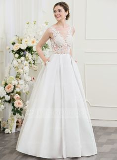 A Line Princess V Neck Court Train Tulle Wedding Dress With