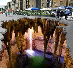 Awesome frickin' sidewalk chalk art on FLAT surface using caraaazzzzzy perspective to trick the eye.
