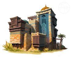 ArtStation - 失落的城邦, 五 月 Minecraft Architecture, Islamic Architecture, Desert Location, Geometric Shapes Art, Architecture Drawing Art, Arabian Art, Building Concept, Background Drawing, Fantasy House