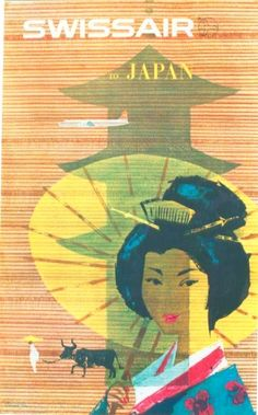 Japan Geisha Girl Vintage Airline Travel Poster by Donald Brun by Retro Graphics