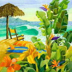 Tropical Yellow Beach Chair with Ocean Waves by Robin Wethe Altman - This is bright and warm and everything tropical combined into one stunn...