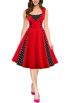 Womens Vintage Retro Rockabilly Picnic Swing Party Dress Wine M ** To view further for this item, visit the image link. Pin Up Dresses, Dresses Kids Girl, Stylish Dresses, Cute Dresses, Vintage Dresses, Casual Dresses, Mode Vintage, Vintage Ladies, Diy Dress