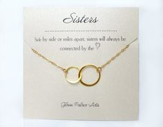Infinity Sister Necklace- With Sister Note Card