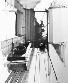 Photos and Videos Interior Architecture Drawing, Architecture Concept Drawings, Architecture Sketchbook, Interior Design Sketches, Industrial Design Sketch, Interior Rendering, Sketch Design, Architecture Design, Drawing Interior