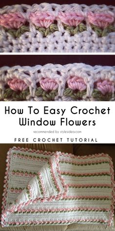 Window Flower Stitch Free Crochet Pattern Tutorial #crochet #crochetstitch #flower #freepattern #blanket
