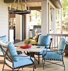 Love comfy chairs like this. Could probably even make them. If I could find stain-free material for outside seating. And could sew. And had a sewing machine. ;-)