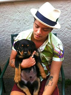 Bruno Mars Gets His First Dog... this is old the dog is huge now!