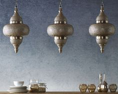 Silver Moroccan Patterned Ceiling Light, , large
