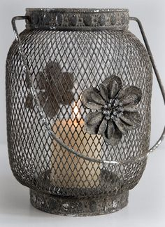 Metal Wire Mesh Hanging 9 in . Candle Lantern with Rhinestone Flower   $17  Save-on-crafts.com