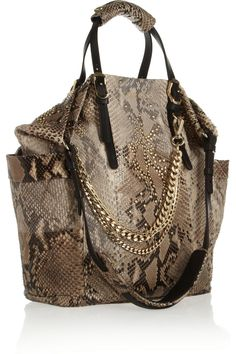 04fa68286619 Jimmy Choo - Blare leather-trimmed studded python tote