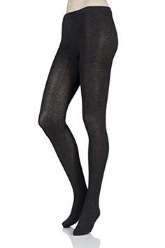 8f52daa36 Ladies 1 Pair SockShop Plain Bamboo Tights Charcoal Twist Medium Large --  For more information