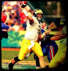 #7 Chad Henne - Only second true freshmen to start opening game for Michigan at QB. Four year starter. All time Michigan leader in attempts in a career 1387, completions in a career 828, passing yards in a career 9715, TD passes in a career 87 and tied for most TD passes in a season 25. Most 150 plus yards passing  in a career 38. Finished with 32 career wins. Led Michigan to two BCS Rose Bowl games in 2005 and 2007. Led Michigan to a win in the Capital One Bowl over Florida Gators and their…