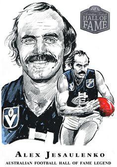 Hall of Fame — Col Bodie Sports Art Carlton Afl, Carlton Football Club, Kelly's Heroes, Australian Football, Football Hall Of Fame, Go Blue, Black N White Images, Sports Art, Athlete