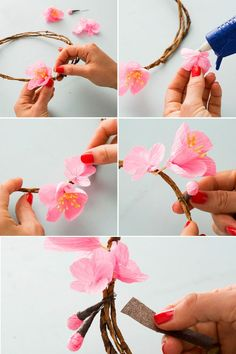 Paper Cherry Blossoms make for the prettiest flower crowns. How to Make a Cherry Blossom Flower Crown ~ Katherine Unique - fashion and… Fashion Boots for Women - ThriftyWomensFashion Discover recipes, home ideas, style inspiration and other ideas to try Crepe Paper Flowers, Fabric Flowers, Handmade Flowers, Diy Flowers, Flower Crafts, Flower Art, Crown Flower, Flower Girls, Cherry Blossom Theme