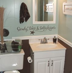 Sandy toes and Salty kisses - cutest saying and perfect touch for beachy laundry room with family beach pics