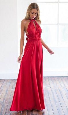 Sexy Red V Neck Goddess Dress
