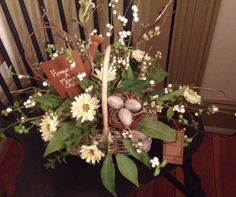 Spring basket with nest of eggs