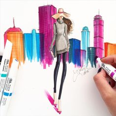 Coloring my city, with the help from the bold color of the new @pigmentmarker by @winsorandnewton ❤️ #hnicholsillustration #winsorandnewton #pigmentmarker #noordinarymarker #societyofillustrators #fashionsketch #fashionillustrator #fashionillustration #bostonblogger #bostonillustrator #boston #bostonart #bostonartist #illustrations  (at Boston, Massachusetts)