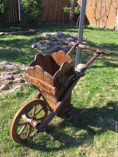 САДОВАЯ ТАЧКА `GASCONY` Steel Rims, Art School, Cannon, Woodworking Projects, Wood Working, Ideas, Construction Tools, Carport Garage, Wood Yard Art