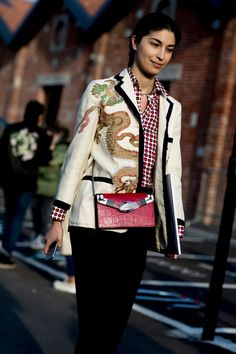 Embroidered Blazer - The Street Style at Milan Fashion Week Was Seriously Chic - Photos