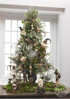RAZ 2013 Christmas Trees elves green rustic olde time vintage woodland friends Xmas theme mushroom moss