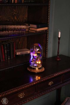 """Steampunk lamp """"Benjamin"""" • MarCoWood • Steampunk Lamp Steampunk Desk, Power Wire, Industrial Desk, Copper And Brass, Glass Domes, Light Decorations, Desk Lamp, Decorative Lighting, Lights"""